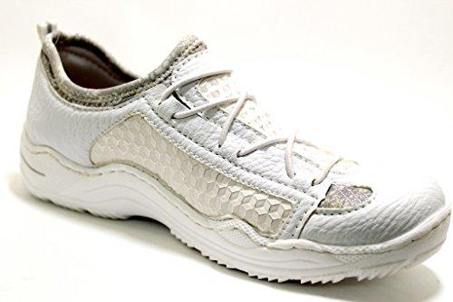 Rieker Women's L0580-81 Loafer Flats White White White pKVQd7YM1K