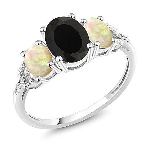 10K White Gold Diamond Accent Three-Stone Engagement Ring set with 1.94 Ct Oval Black Onyx White Ethiopian - Set Oval Onyx Ring