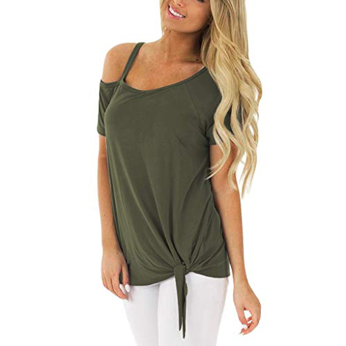 - Sttech1 Women's Solid Strapless Loose Short Sleeve O-Neck Casual Solid T-Shirt Army Green