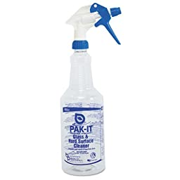 PAK-IT Color-Coded Trigger-Spray Bottle, 32 oz, Blue, Glass/Hard Surface Cleaner (12/Carton) - BMC-BIG 5551204012CT