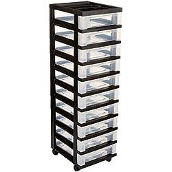 Medium 10-Drawer Cart with Organizer Top, Black