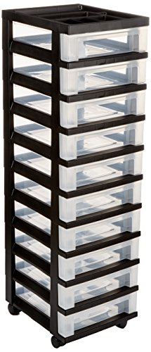 Medium 10-Drawer Cart with Organizer Top, Black