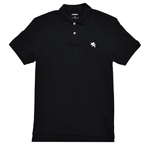 Express Mens Modern Fit Pique Polo Shirt (M, Black) from Express