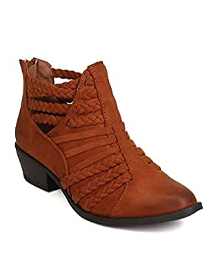 FH07 Women Faux Suede Pointy Toe Braided Cut Out Bootie - Chestnut
