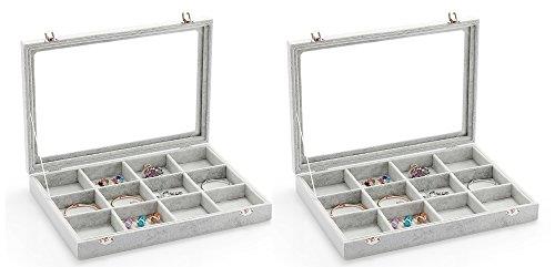 WZT 2Pcs Clear Lid 12 Grid Jewelry Tray Showcase Display ...
