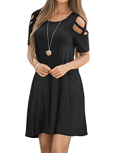 EZBELLE Women's Short Sleeve Cold Shoulder Dresses with Pockets Summer Loose Strappy T Shirt Swing Dress Black X-Large ()
