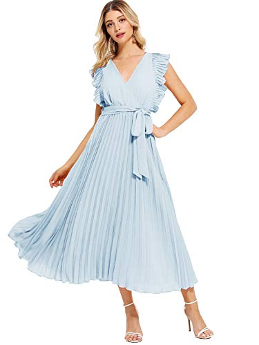 Milumia Women Casual A Line Summer Pleated Wrap V Neck Classic Dress Blue L ()