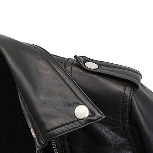 Jacket Otoño Manga Con Festivo Moda Mujer Larga Casuales Biker Primavera Negro Elegantes Bolsillos Cazadoras Chaquetas Ocasional Outerwear De Laterales Mujeres Cómodo Chaqueta Cuero Sintético wq6Oa