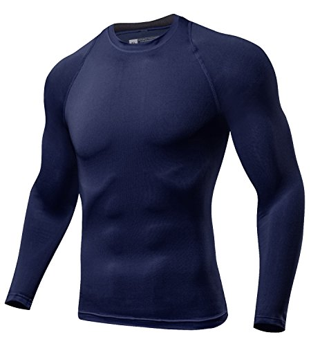 Lavento Men's Compression Shirts Baselayer Crewneck Long-sleeve Dry Fit T-shirts (1 Pack-Navy blue,Medium) by Lavento