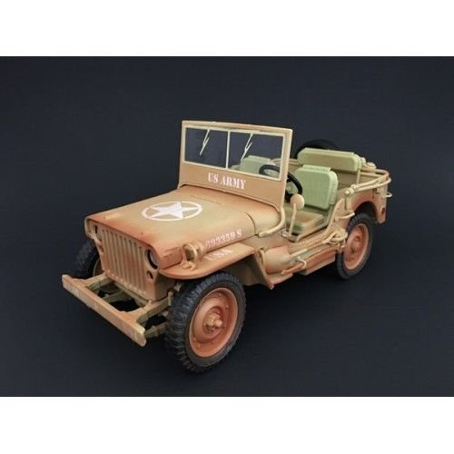 American Diorama US Army WWII Jeep Vehicle Desert Color Weathered Version 1/18 Diecast Model Car