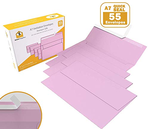 55 5x7 Pink Invitation Envelopes - for 5x7 Cards - A7 - (5 ¼ x 7 ¼ inches) - Perfect for Weddings, Graduation, Baby Shower - 120 GSM - Peel, -
