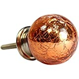 Metallic Crackle Glass Drawer Knobs. Ideal also for Wardrobe Cupboard or Cabinets - ORANGE BALL SHAPE by West5Products