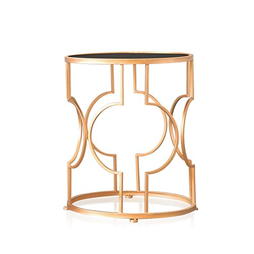 Tables ZR- Tempered Glass Coffee Living Room Round Coffee Corner Gold,2 Furniture (Color : 3847CM)