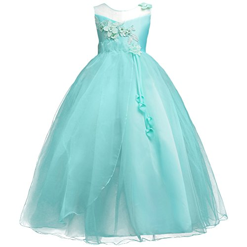 Princess Flower Long Girls Pageant Tutu Dresses Kids Prom Puffy Tulle Dance Party Fall Wedding Bridesmaid Ball Gown Turquoise 8-9 Years ()