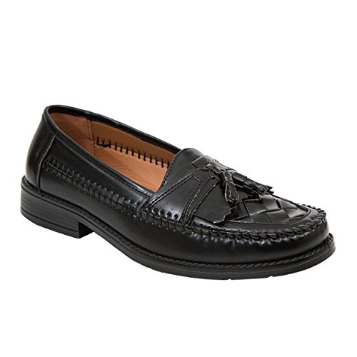Deer Stags Men's Herman Jet Black Tassel Loafer 10 W (3E) - Woven Leather Loafer Shoe