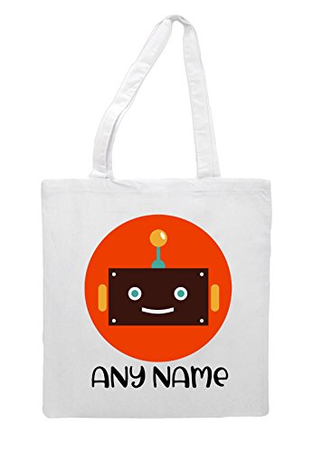 Character With Robot Avatar Personalised Two Shopper Bag Name White Vintage Tote Face wqSpxI4Fx