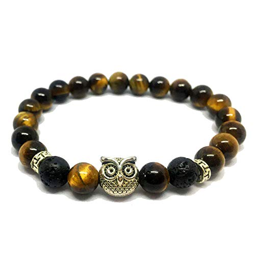 SEY 8mm Tiger-Eye and Lava Bracelet Essential Oil Stress Relief Yoga Beads with Owl Women's Girls Gift