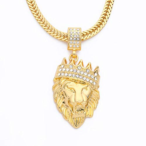 Snowfoller Mens Diamond Crown Lion Pendant Cuban Chain Full Rhinestone Hip Hop Style Necklace for Boys - I'm The King (Gold)