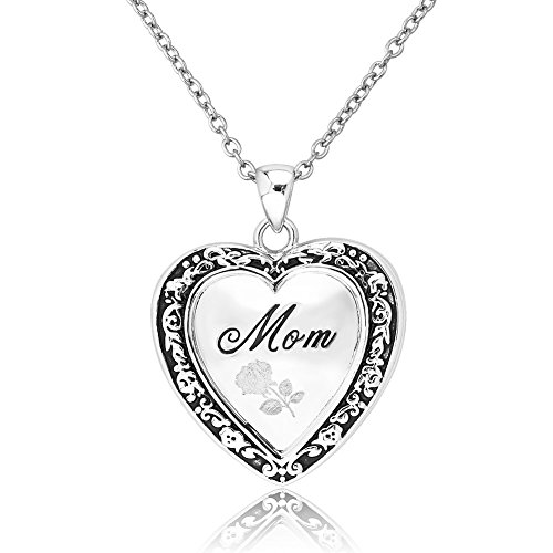 Mothers Engraved Flower Pendant Necklace
