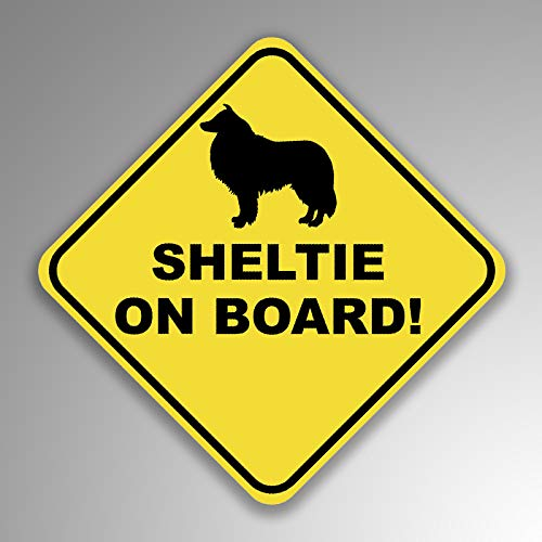 (JMM Industries Sheltie On Board Vinyl Decal Sticker Car Window Bumper 2-Pack 4-Inches by 4-Inches Premium Quality UV Protective Laminate PDS1258)
