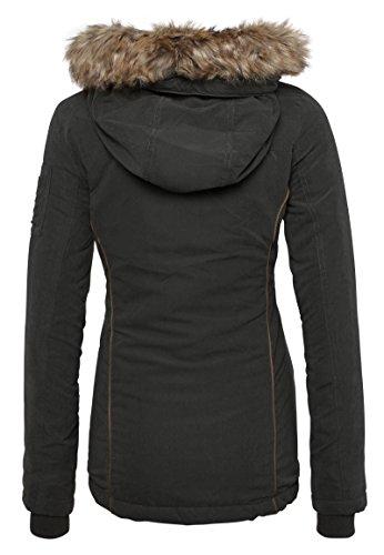 Noir En Fausse Capuche Urban Avec Doublure Légère Et D'hiver Veste Intérieure À Pour Fourrure Femme Manteau Surface Owq6a