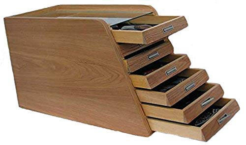 Knife Display Case Holder Tool Storage Cabinet, with drawers (Natural Wood Finish)