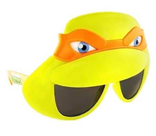 [Sunstaches Officially Licensed TMNT Mask Sunglasses, Orange] (The Orange Ninja Turtle Costume)