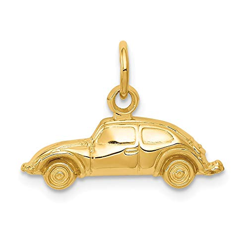 Solid 14k Yellow Gold Car Pendant Charm (20mm x 15mm)