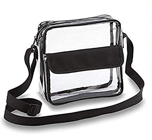 LBXX Clear Crossbody Messenger Shoulder Bag with Adjustable Strap NFL Stadium Approved Transparent Purse (Black,Small)