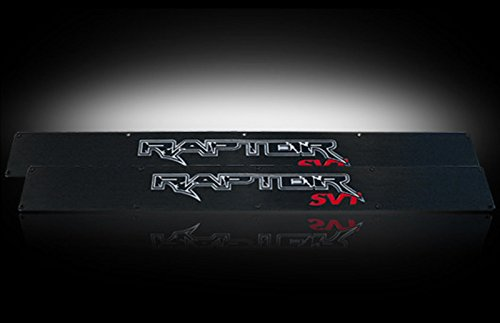Ford 09-14 SVT RAPTOR Billet Aluminum Door Sill / Kick Plate (2pc Kit Fits Driver & Front Passenger Side Doors Only) in Black Finish - RAPTOR in BLUE ILLUMINATION