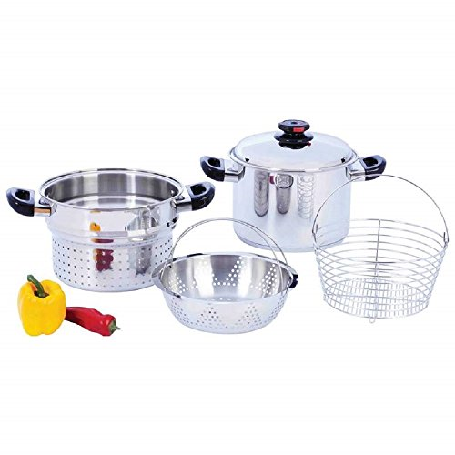 Steam Control™ 8qt T304 Stainless Steel Stockpot/Spaghetti Cooker with Deep Fry Basket & Steamer Inserts by BF001