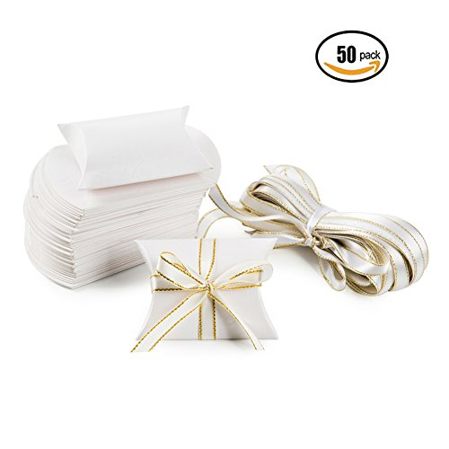 Powder White Paper Pillow Candy Treat Box Set Chocolate Gift Boxes for Wedding Bridal Shower Party Favors with Ribbons, 50 PC