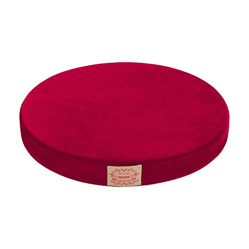 Shinnwa Polyester Supper Soft Cushion Round MemoryFoam Seat Cushion Short Plush LumbarSupportPillow Home Office Chair Pad Burgundy 16