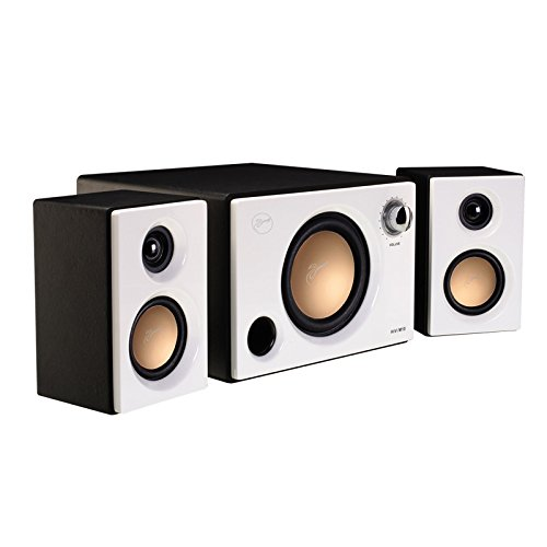 Swan Speakers - M10 - Powered 2.1 Computer Speakers - Surround Sound - Near-Field Speakers - Bookshelf Speakers - Pearl White by Swan Speakers