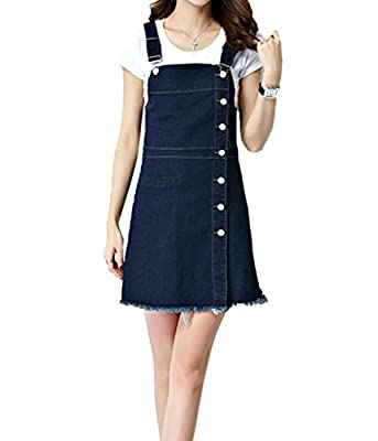 ZQYO Women's Casual Slim A Line Denim Cute Overall Dress Front Button Down Jeans Shortall Dresses