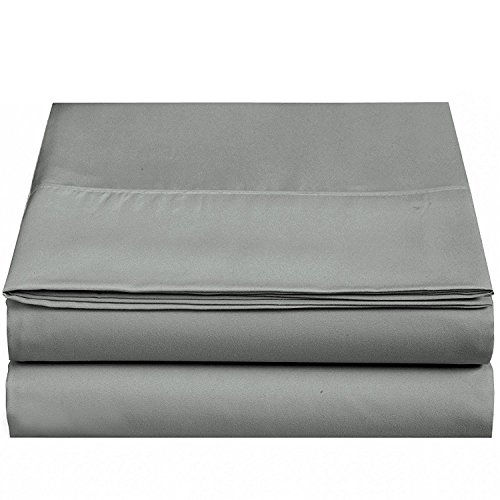 4U LIFE 2 Piece Flat Sheet, Ultra Soft and Comfortable Microfiber, Twin, Gray 2 Pack Flat Sheets