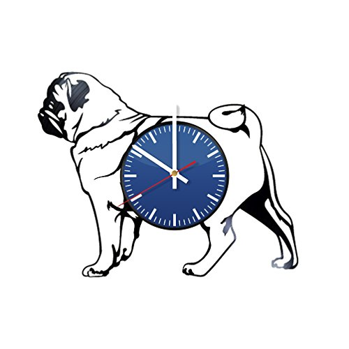 (French Bulldog Pet Vinyl Wall Clock - Unique Home Decor - Original Handmade Vintage Gift for Any Ocassion - Birthday, Anniversary, Christmas, Mother's Day)