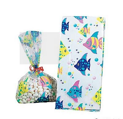 12 Cellophane Tropical Fish Goody Bags ()