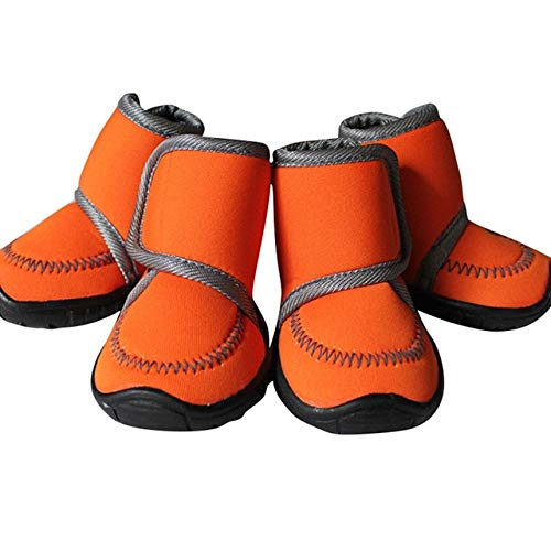 orange, XS   4Pcs Sets Winter Pet Dog shoes Waterproof Small Big Dog's Boots Cotton Non Slip XS XL Outdoor Sport shoes