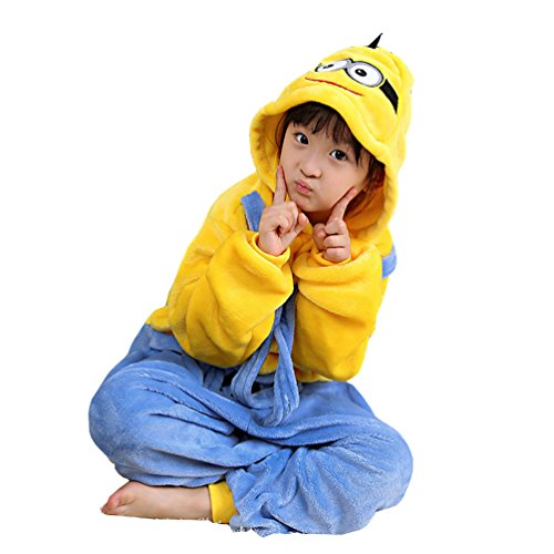 Lava-ring Boy Girl Minions Romper Hooded Jumpsuit Outfits(125#) ()