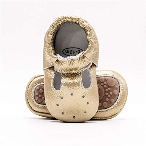 Bebila Genuine Leather T-Strap Baby Moccasins with Rubber Soles Summer Boys Girls Shoes for Infants Toddlers Prewalkers (12-18Months/6.5 M US Toddler, Gold)