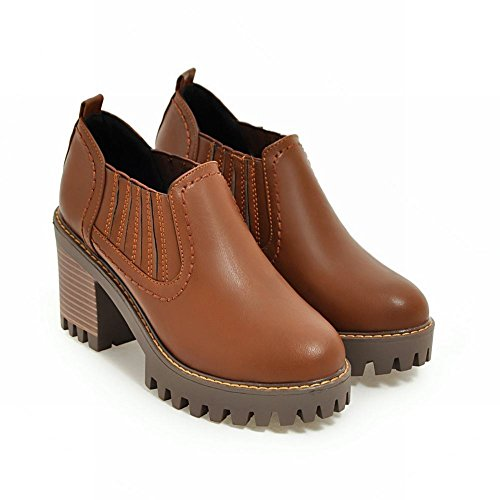 Latasa Boots high Heels Spring Ankle Brown Womens Fall Light Chelsea Chunky Shoes rwTCrxq