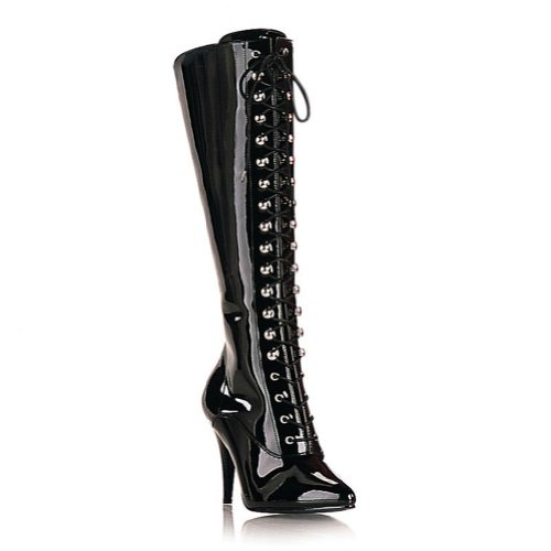 - 4 Inch High Heel Patent Boots Lace Up Pointed Toe Knee High Women's Sexy Boots Size: 16