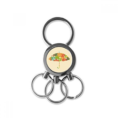 Leaves Umbrella Drip Weather Rain Stainless Steel Metal Key Chain Ring Car Keychain Keyring Clip Gift from DIYthinker
