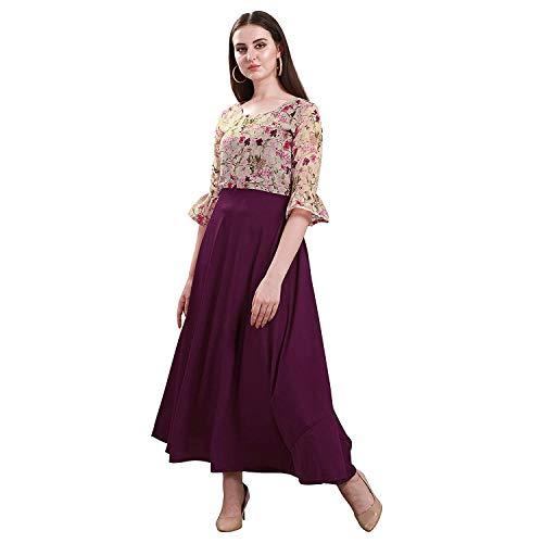 Fashion2wear Women's A-Line Maxi Dress (FW-YELLOW-119-M_Yellow_Medium)