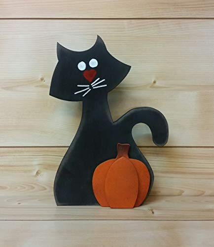 Halloween Black Cat with Pumpkin - Halloween Black Cat - Halloween Decorations - Wooden Black Cat - Halloween Party Decor - Halloween Cat - Wiccan Cat - Wiccan Decor ()