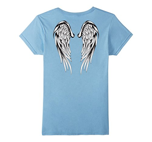 Womens Angel Wings Feathers T-Shirt Small Baby Blue