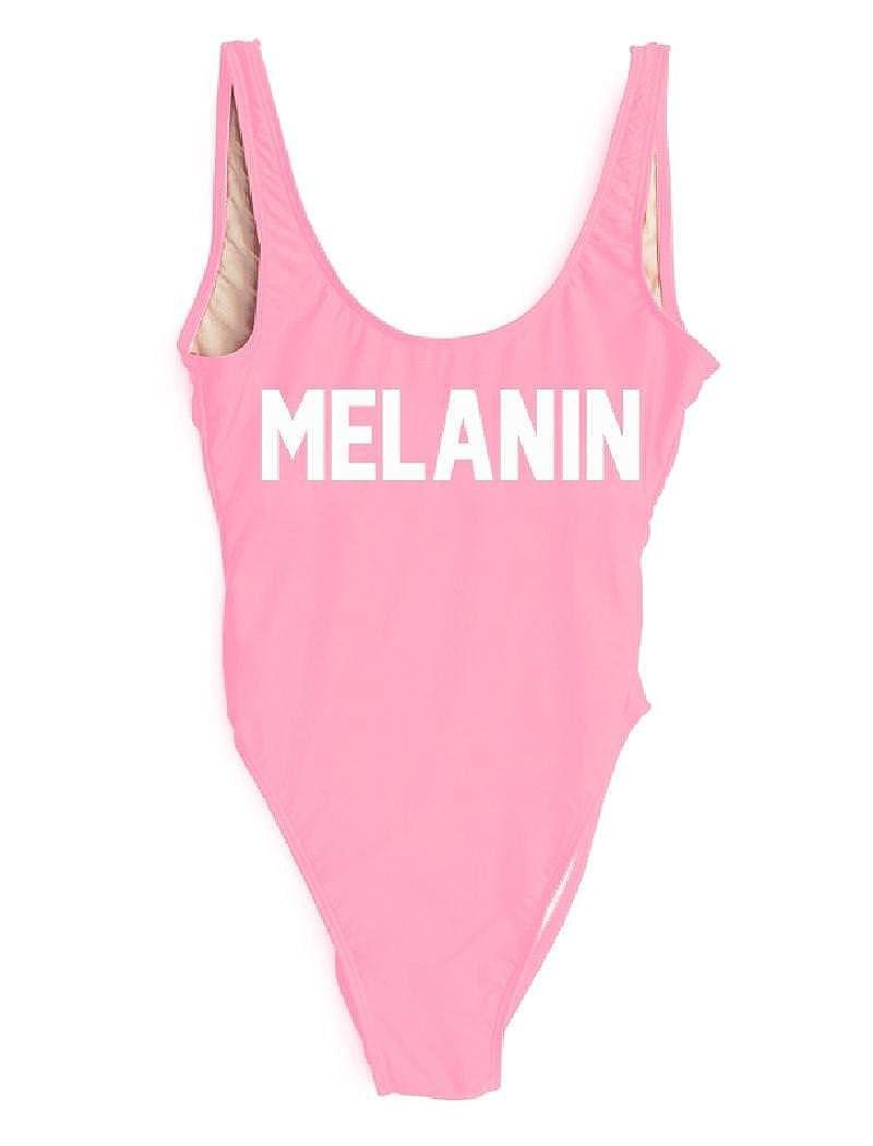 bf8aae0b59037 LUXXY Women One Piece Melanin Letter Printing Swimwear Pink Monokini  Bodysuit Beachwear Girls Swimsuit at Amazon Women's Clothing store: