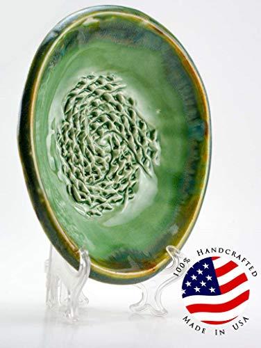 Grating Plate (USA HANDMADE Garlic Grater set from- CAprimeproducts - Green Celadon Glaze with Garlic Peeler, Kitchen Brush, and BONUS Display Stand!)