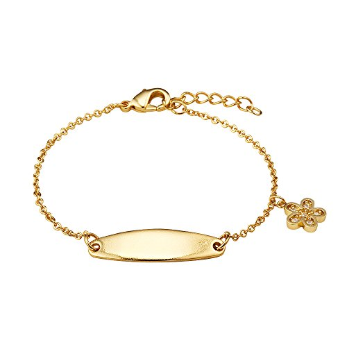14k Gold Plated Brass Baby ID Cubic Zirconia Flower Rolo Link Chain Girls 6